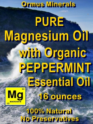 Ormus Minerals -PURE Magnesium Oil with Organic Peppermint E O